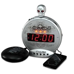 "Sonic Alert Sonic Boom SBS550BC ""The Skull"" Alarm Clock with Bone Crusher Bed Shaker"