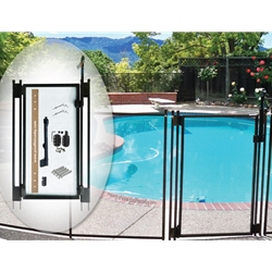 Elegant self-closing, self-latching gate is available as an option