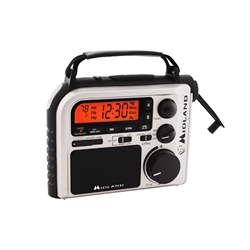 Midland ER-102 7-Channel Emergency Crank Radio with AM/FM/Weather Alert (Black and White)