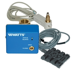 The Watts Floodsafe water detector shutoff valve protects against damage due to a water heater leak